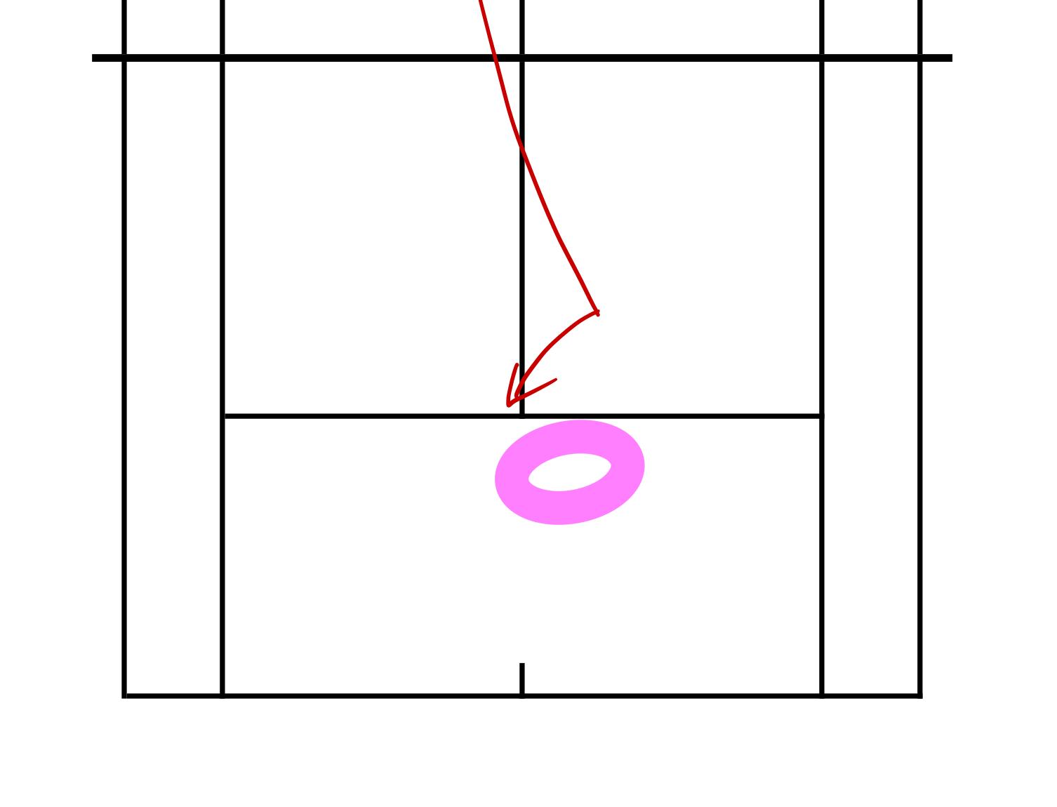 下からのセカンドサーブ(右利き)に対する構える位置