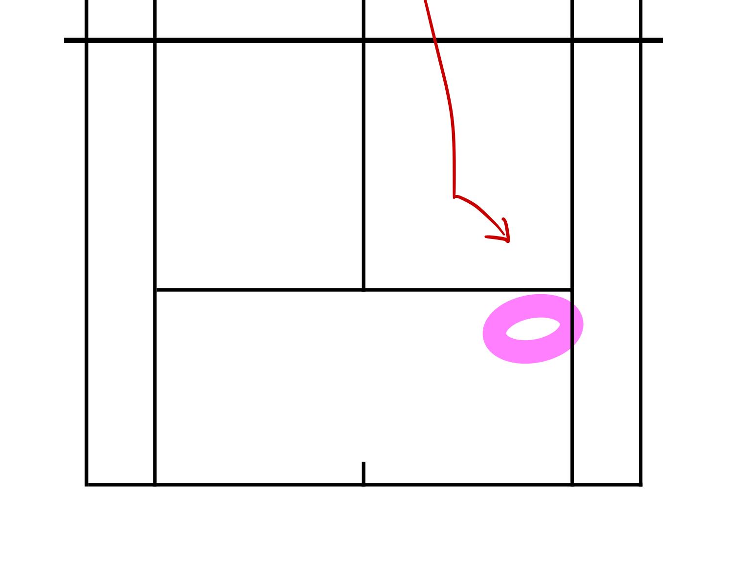 下からのセカンドサーブ(左利き)に対する構える位置
